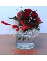 BOUQUET DI ROSE ROSSE CON VERDE DECORATIVO CONFEZIONE REGALO