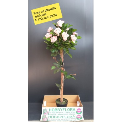Rosa ad alberello artificiale ht 120 cm